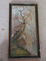 Öreg festmény, 30x60+kerete, olaj, vászon