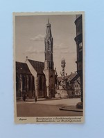 Régi képeslap 1942 Sopron Bencés templom Szentháromság szobor levelezőlap