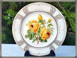 Sárga rózsa mintás, minőségi francia Limoges porcelán dísztányér, fali tányér