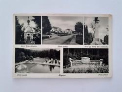 Régi képeslap 1942 Sopron kápolna szállók emlékmű uszoda levelezőlap