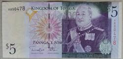 Tonga 5 Paanga 2009 UNC