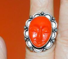 Istennő Arc Díszes Korall Tibeti Ezüst Gyűrű 8-as