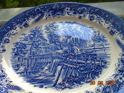 Ritka romantikus tájképpel kék fehér Churchill nagy ovális mikrózható porcelán tál 31x25 cm