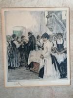 Csók István (1865-1961) - Prihoda István (1891-1956): Úr vacsora színezett rézkarc