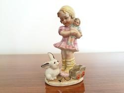 Régi W & A Bertram porcelán babázó kislány nyuszival autóval vintage figura
