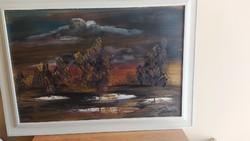 Gyönyörű tájkép festmény, Németh jelzéssel 85x62 cm hihetetlen jól megfestve