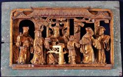 Antik Kínai kézzel faragott, aranyozott dísz