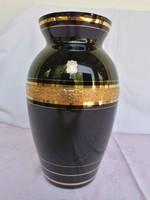 Fekete üveg váza,dús aranyozással