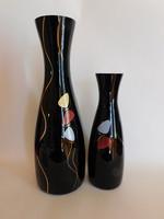Vintage schwarzglas üvegváza család - vélhetően Oscar Mandler, Ilmenau