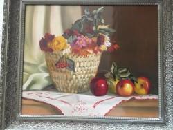 Láta László olajfestmény (Asztali Csendélet) 60x50