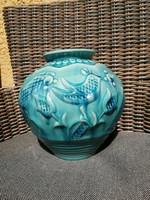Zsolnay eozin alap mázas madaras nagy váza