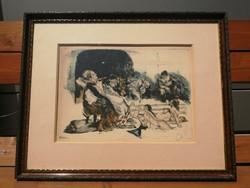 Csók István (1865-1961) - Prihoda István (1891-1956): Báthory Erzsébet színezett rézkarc