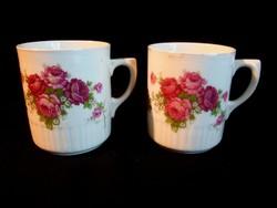 2 db Zsolnay porcelán rózsa virágos bögre, csésze