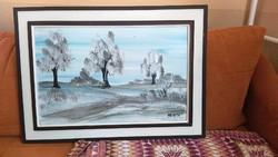 Gyönyörű festmény, Németh jelzéssel téli táj 67,5 x 49 cm