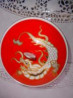 Wallendorf sárkány motívummal plasztikus kézi festett porcelán cukortartó