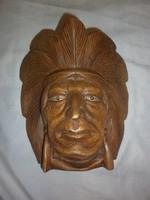 Faragott fa indián fej falidísz