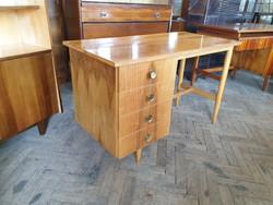 Régi retro fa íróasztal mid century fiókos asztal