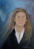 Női portré, olajfestmenyem, kasirozott vászon, 30x25 cm