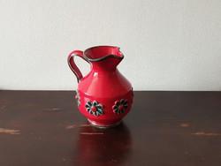 Iparművész kerámia váza kiöntő kanna piros vörös zöld virágos mintával