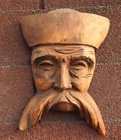 Parasztbácsi fafej - népi fali fafaragás