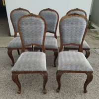 Neobarokk stílusú kárpitozott szék-5 db