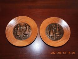 Fa tányérok réz betéttel