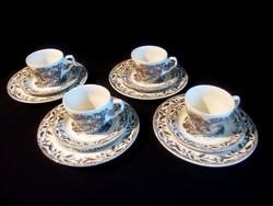 4 személyes 12 db-os Angol vadász jelenetes reggeliző porcelán teás készlet ritka színben, festéssel