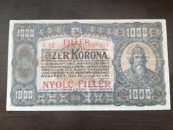 1000 Korona 1923 8 Fillér felülbélyegzés