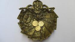 Régi csodás réz tál- kártyalapok-pénz érmék-ördögfej ábrázolás