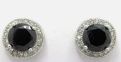 Fekete- fehér köves  sterling ezüst füli 925/ - új