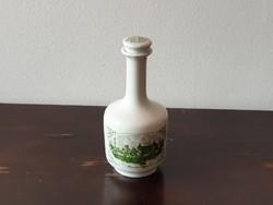 Alföldi porcelán butella kiöntő pálinkás italos üveg palack zöld Szeged mintával