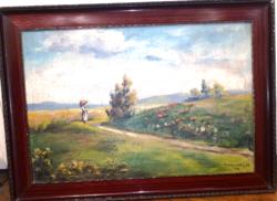 Kecskeméthy M. Gyönyörű tájképe keretben