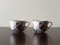 Kézzel festett Arpo bögre pár román porcelán lila kék aranyozott pohár csésze