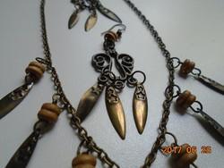 Nyaklánc fülbevaló szett bronzírozott antikolt fém