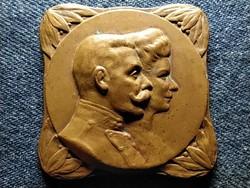 II. Vilmos és Auguszta Viktória 42,5 mm 41 g bronz plakett (id51055)