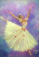 Balerina - kortárs festmény, szignózott