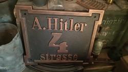 Nagy, A. HITLER házszámtábla, Öntvény!