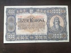 Ropogós 1000 Korona 1923 Magyar Pénzjegynyomda