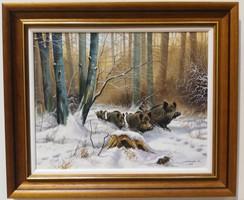 DABRONAKI KÁROLY Vaddisznók a téli erdőben HETI akció3
