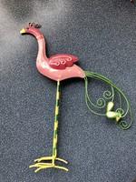 Fém festett flamingó dísz