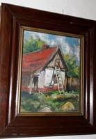 Szamecz Béla _ falusi ház - olaj / falap festmény vastag tölgyfa keretben