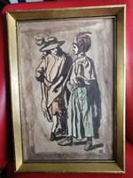 Antik szignózott akvarell