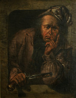 18.sz. Férfi Pisztollyal Olaj Vászon 64x53cm | Antik Festmény Párbaj előtt Párbalypisztoly Portré