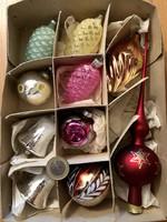 Régi retro üveg karácsonyfadísz 10 db