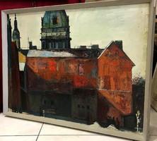 Bod László (1920-2001):Tűzfal és kupola, 60x80cm, olaj-farost