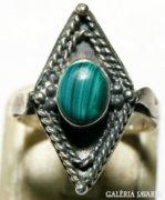 Art Deco Márki Fazonú Ezüst Gyűrű Malachit ékkővel