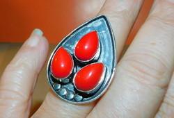 Korall Piros Csepp Tibeti Ezüst Gyűrű 9-es