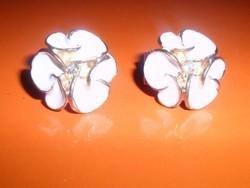 Hófehér Hortenzia Virág Arany Gold Filled Vintage Fülbevaló