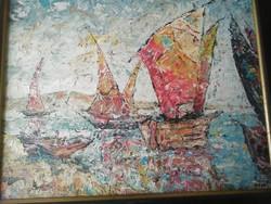 Vén Emil :tengerparti vitorlások képcsarnokos festmény!
