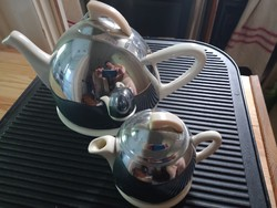 Art deco style faience teapot and milk spout with thermo metal mantle caste